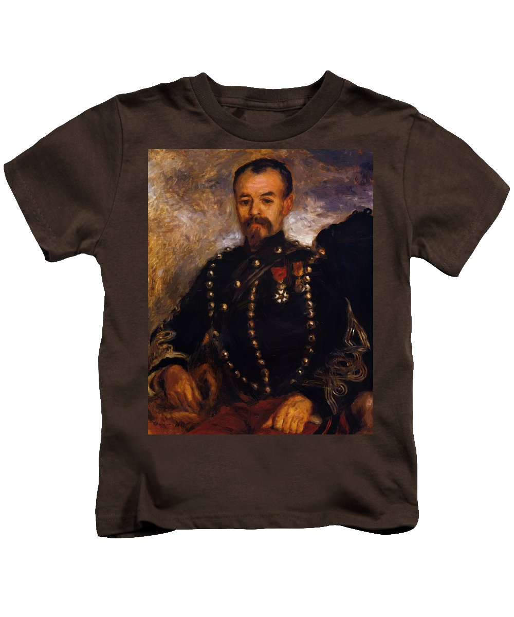 Captain Kids T-Shirt featuring the painting Captain Edouard Bernier 1871 by Renoir PierreAuguste