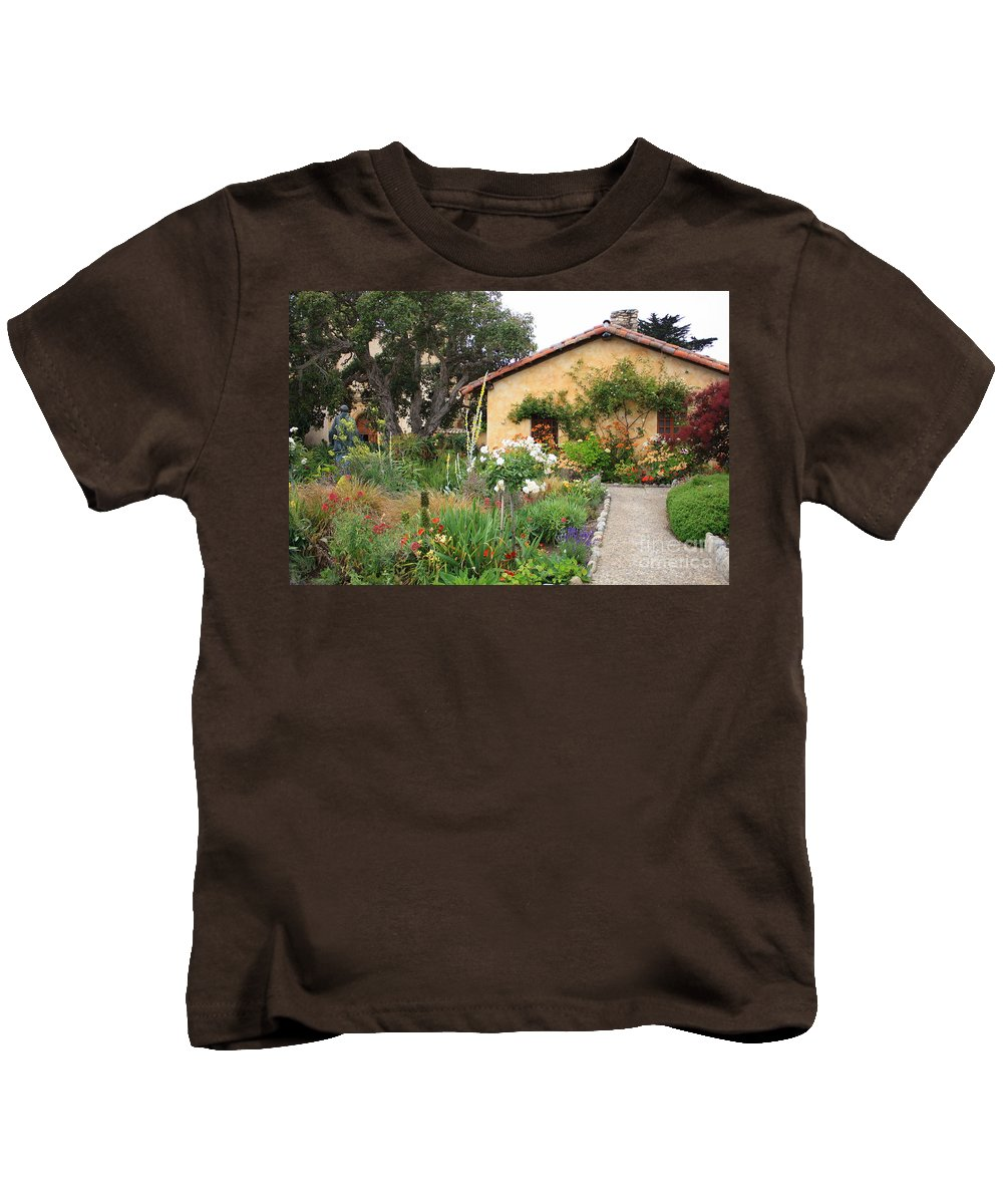Carmel Kids T-Shirt featuring the photograph Carmel Mission With Path by Carol Groenen