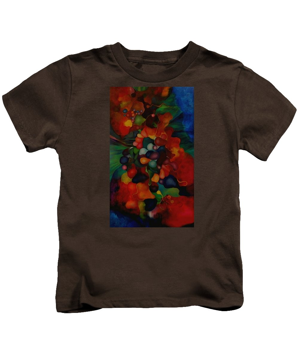 Abstract Kids T-Shirt featuring the painting Carnival by Peggy Guichu