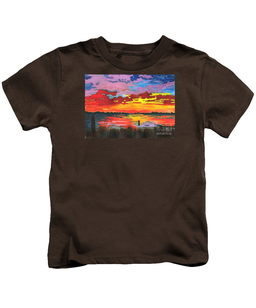 Original Painting Kids T-Shirt featuring the painting Carolina Sunset by Patricia Griffin Brett