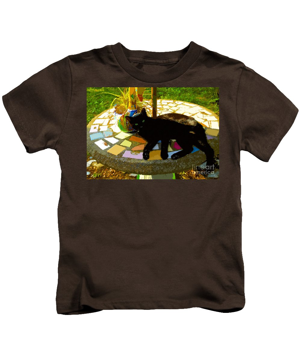 Black Cat Kids T-Shirt featuring the painting Cat And Table by David Lee Thompson