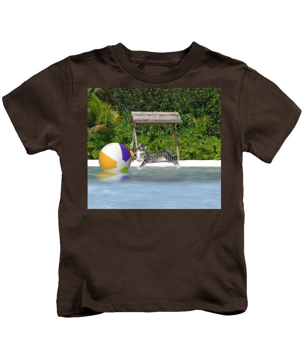 Cat Kids T-Shirt featuring the mixed media Cat At The Beach by Gravityx9 Designs