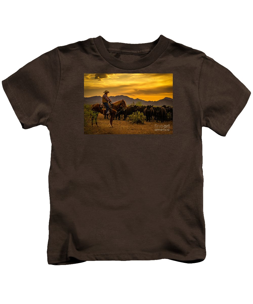 Cattle Drive Kids T-Shirt featuring the photograph Cattle Drive 41 by Larry White