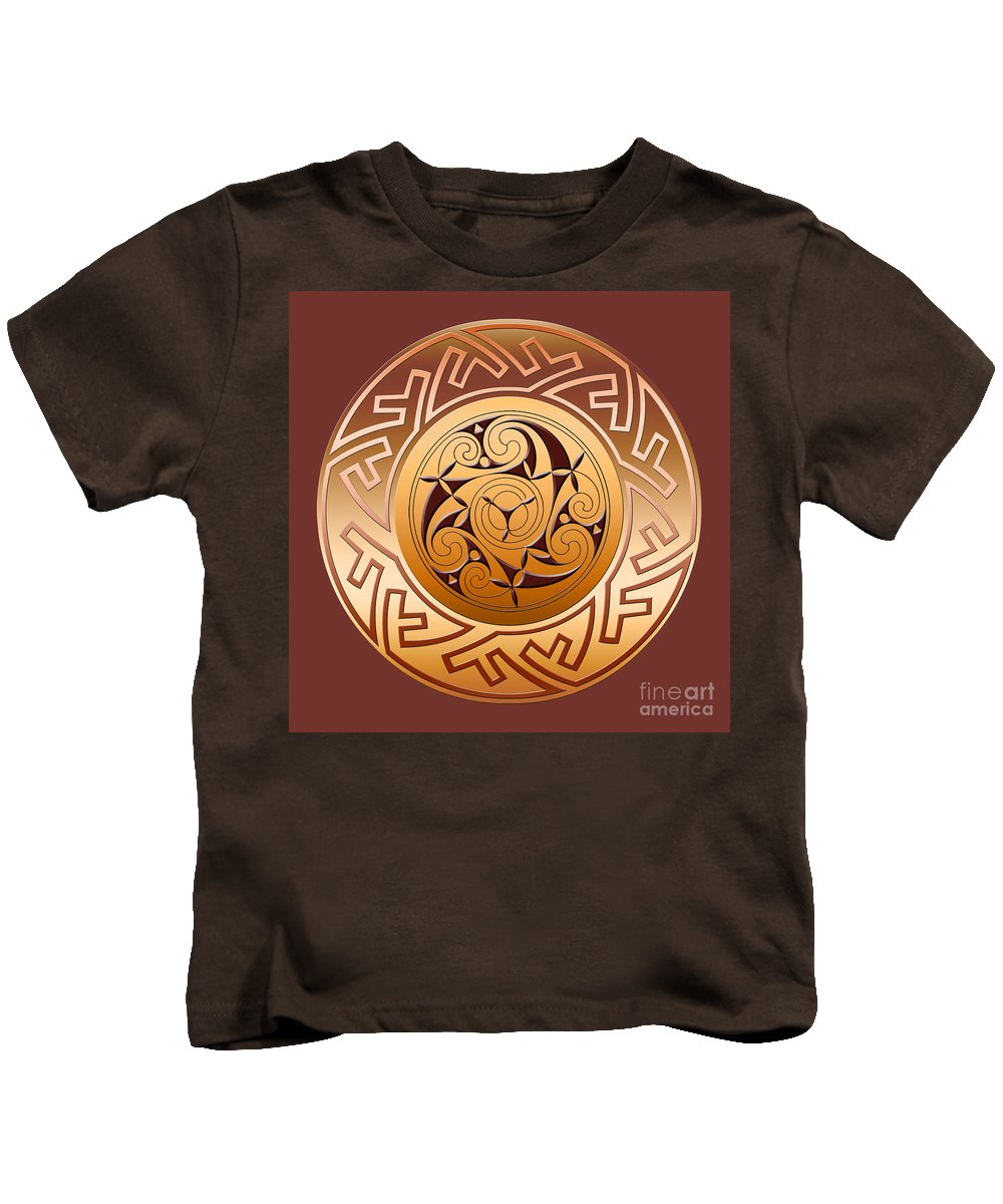 Celtic Kids T-Shirt featuring the digital art Celtic Spiral And Key Pattern by Melissa A Benson