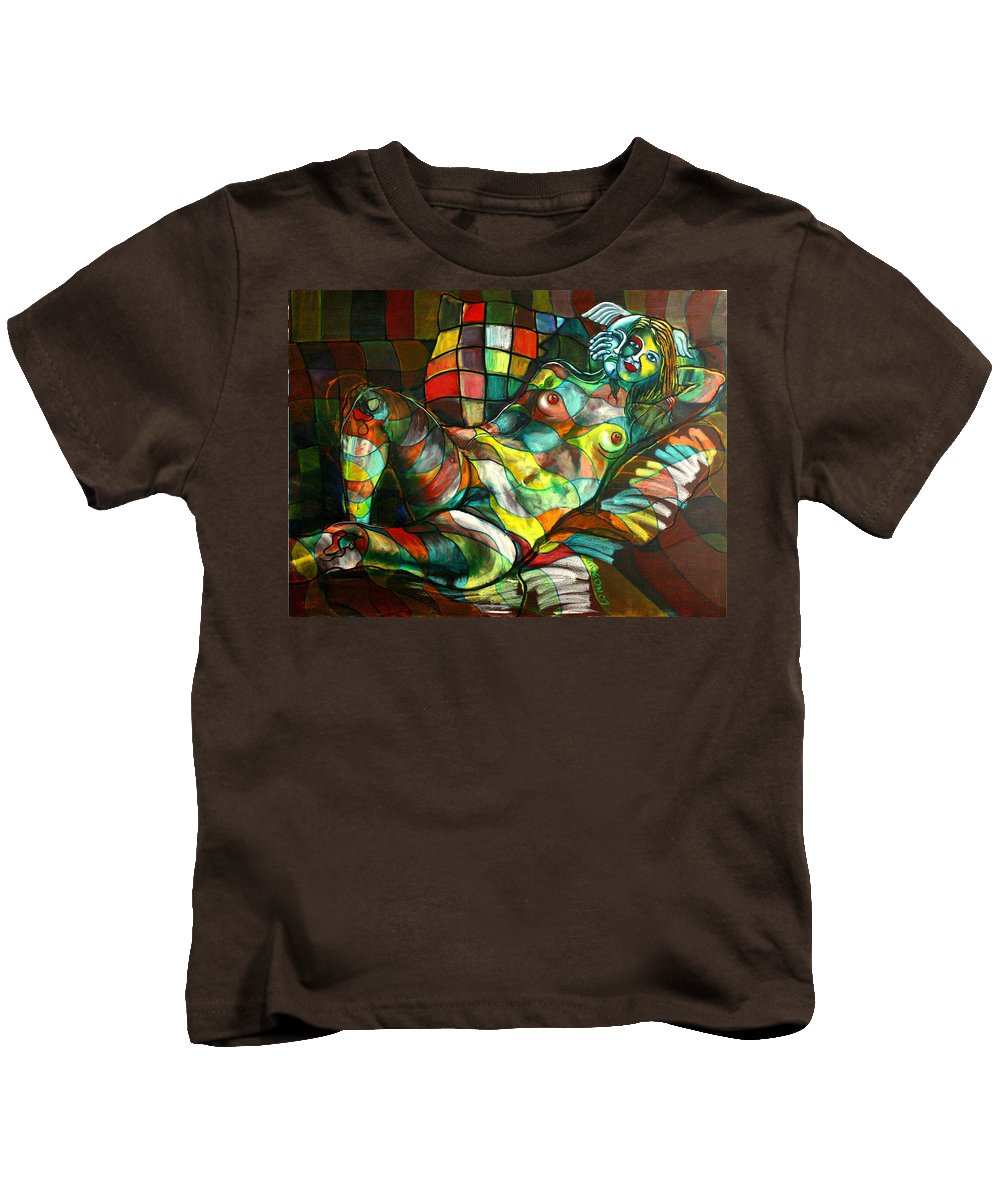 Painting Kids T-Shirt featuring the painting Chameleon I by Gideon Cohn