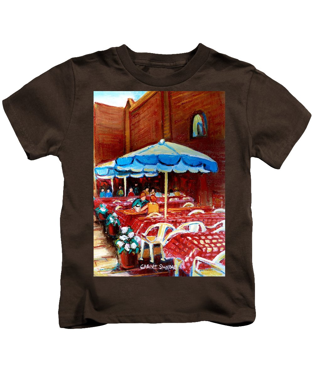 Montreal Kids T-Shirt featuring the painting Checkered Tablecloths by Carole Spandau