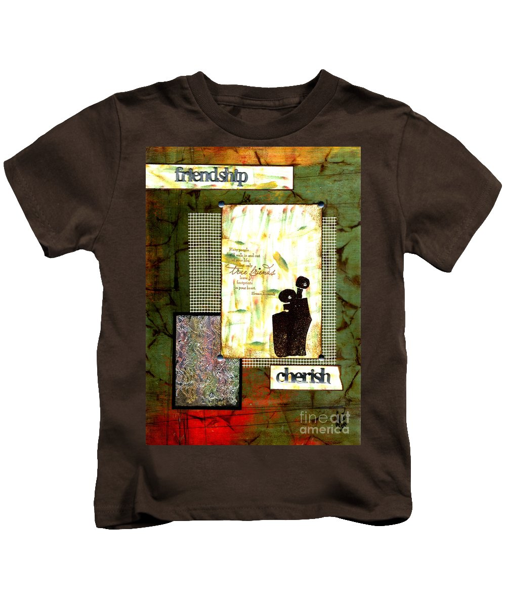 Wood Kids T-Shirt featuring the mixed media Cherished Friends by Angela L Walker