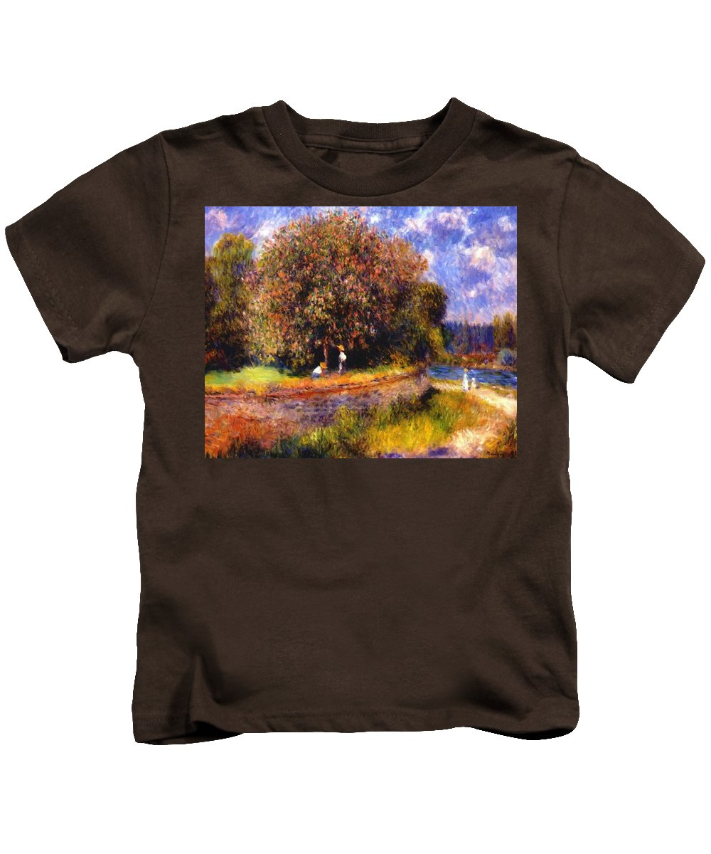 Chestnut Kids T-Shirt featuring the painting Chestnut Tree Blooming 1881 by Renoir PierreAuguste