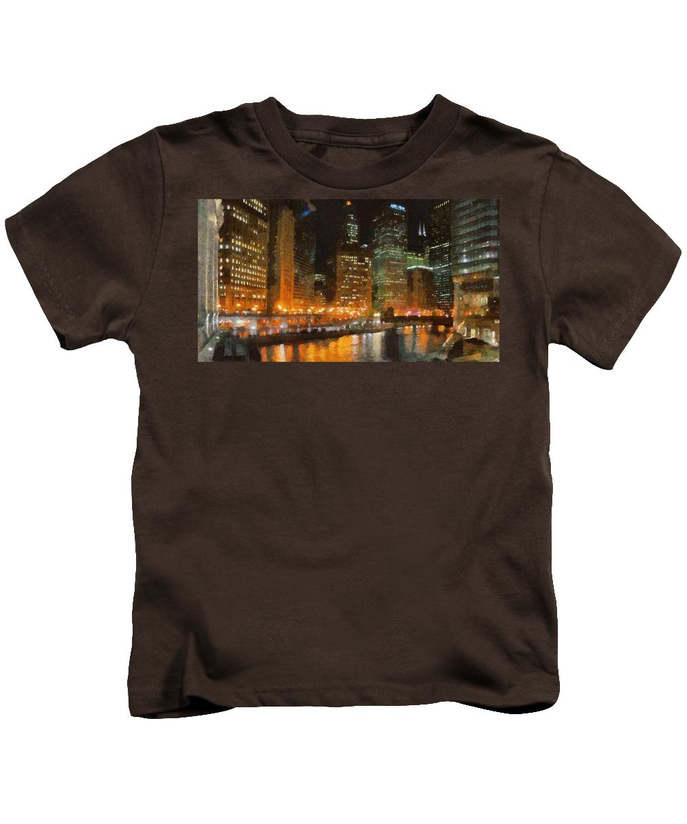 Chicago Kids T-Shirt featuring the painting Chicago At Night by Jeffrey Kolker