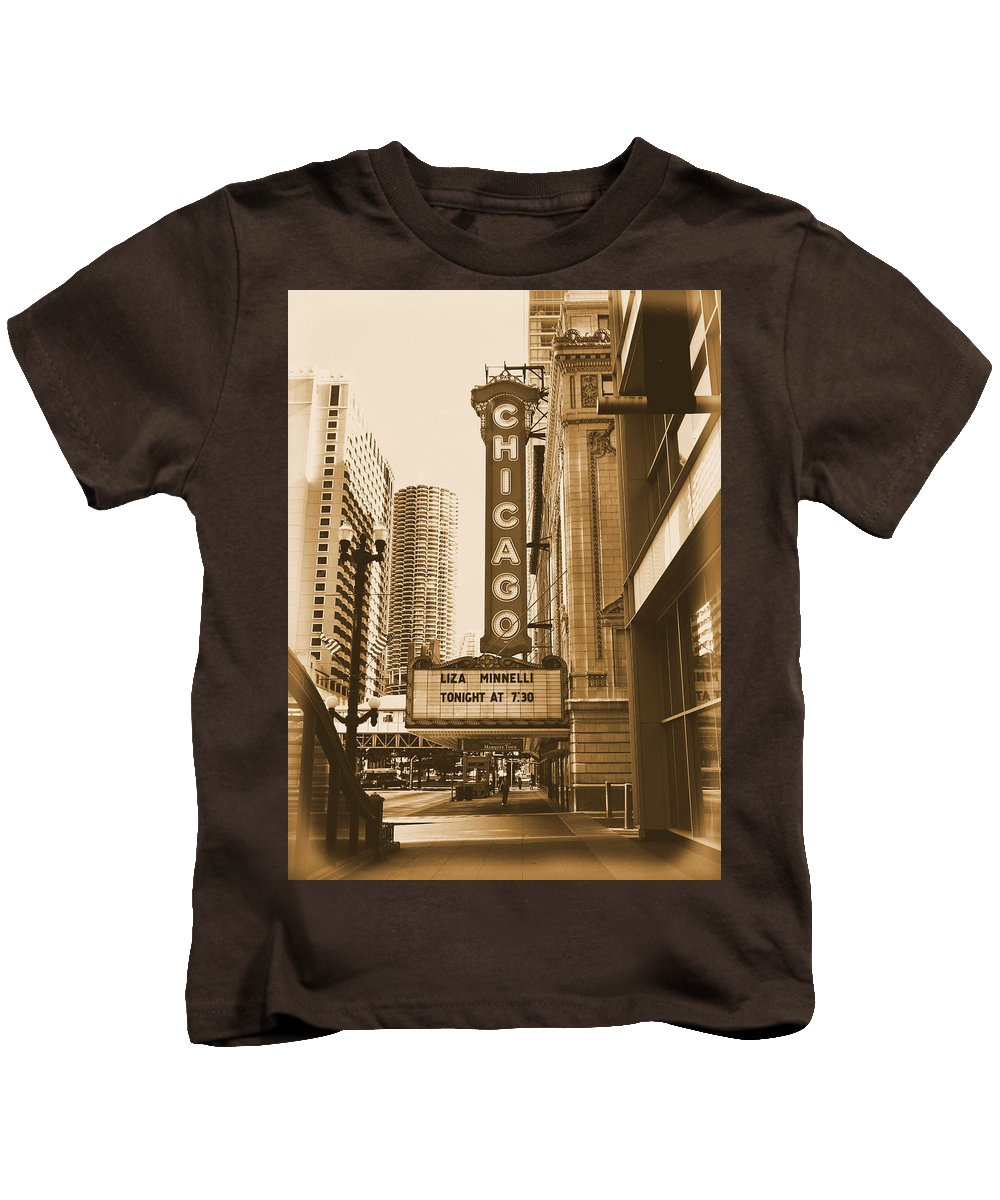 Chicago Theater Marquee Kids T-Shirt featuring the photograph Chicago Theater - 3 by Ely Arsha