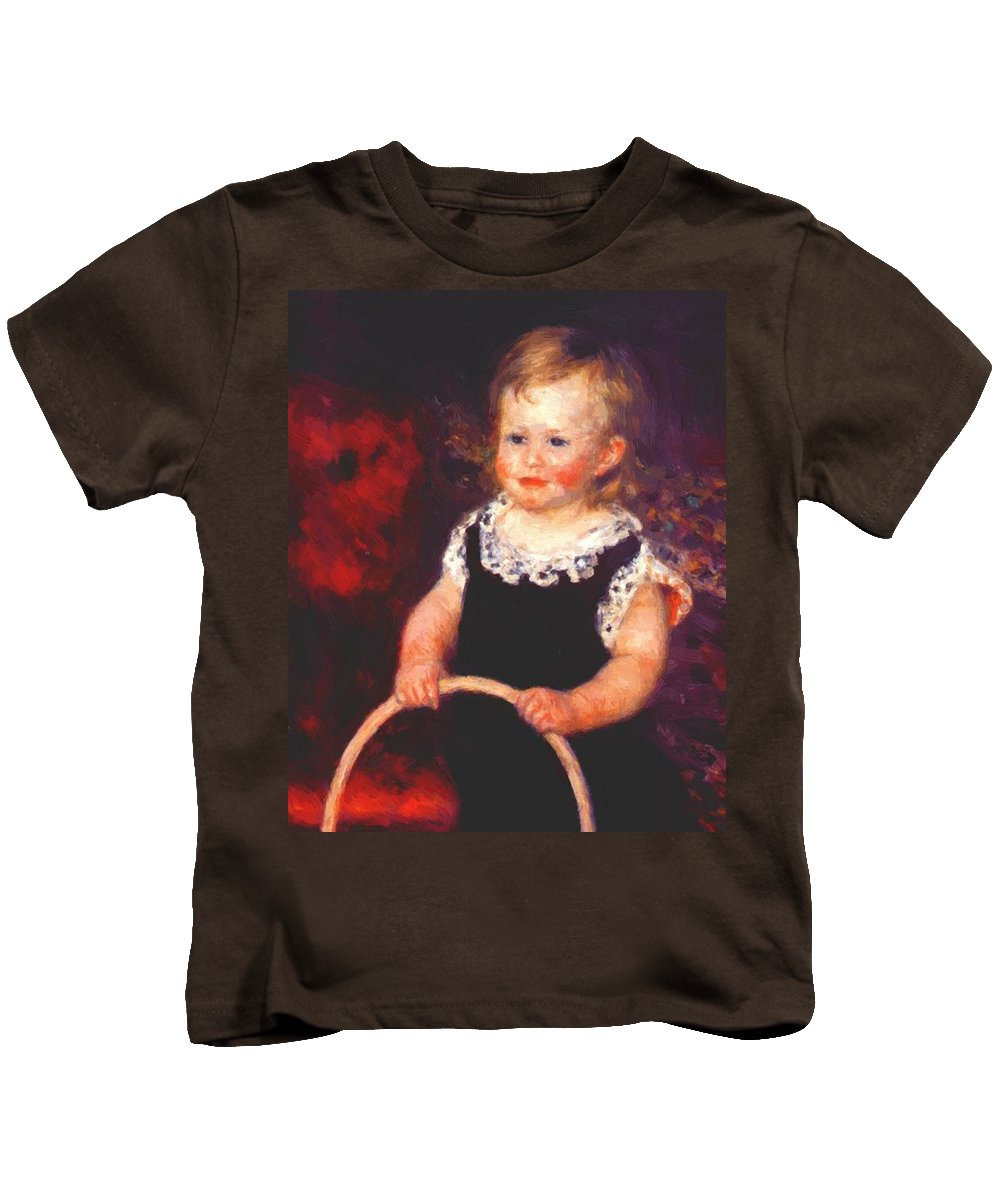 Child Kids T-Shirt featuring the painting Child With A Hoop by Renoir PierreAuguste