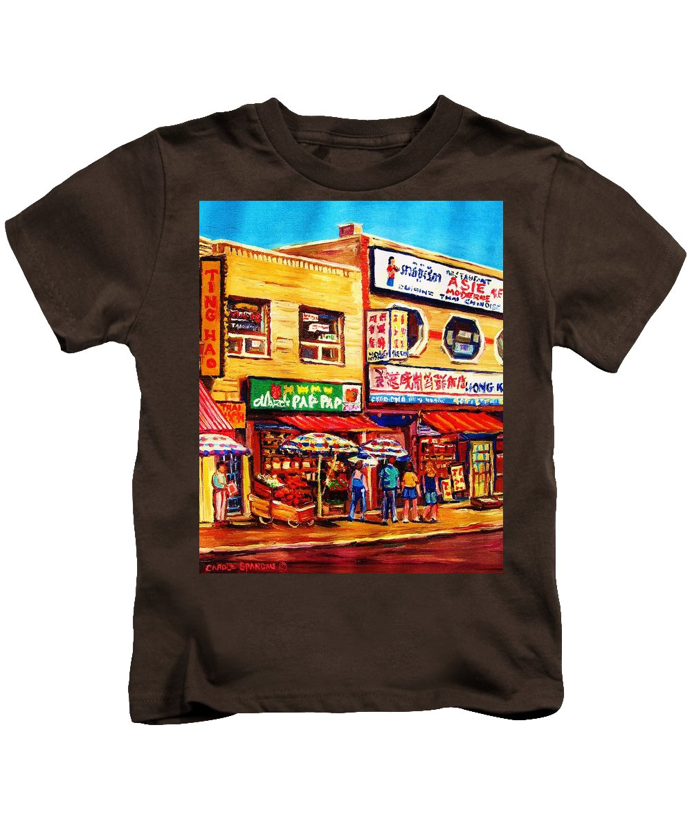 Montreal Kids T-Shirt featuring the painting Chinatown Markets by Carole Spandau