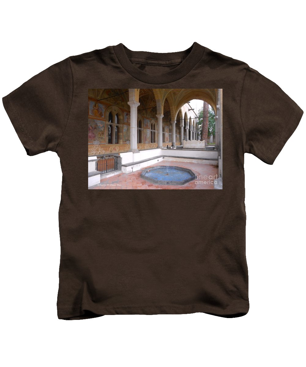 Cityscape Kids T-Shirt featuring the photograph Chiostro Santa Chiara- Naples, Italy by Italian Art
