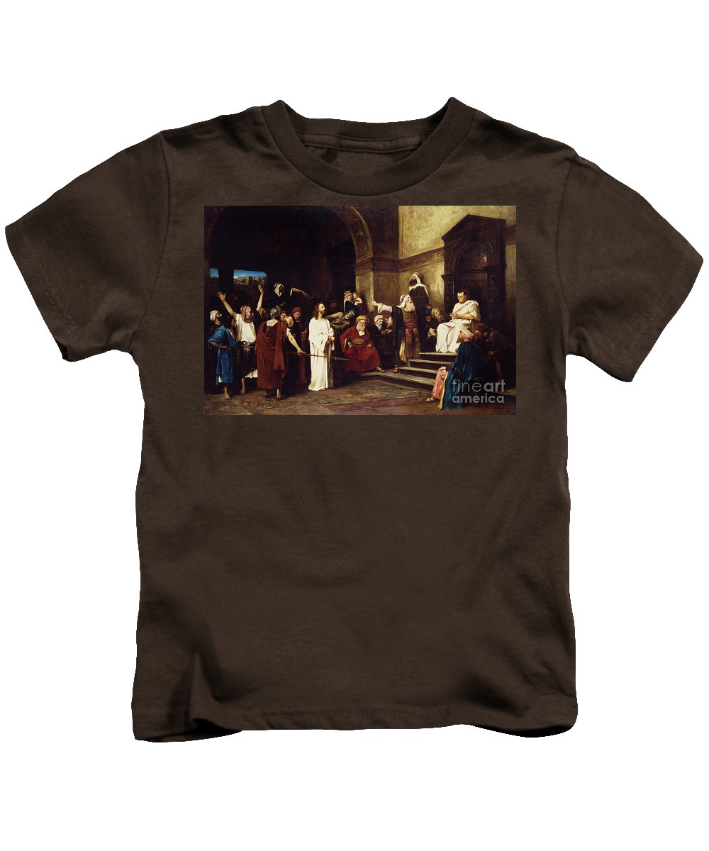 Christ Kids T-Shirt featuring the painting Christ Before Pilate by Mihaly Munkacsy