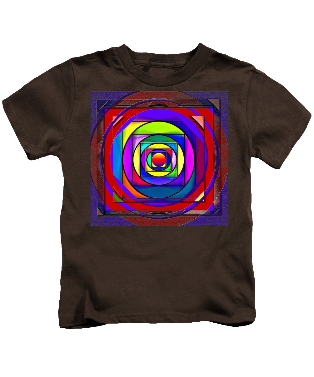 Circle Kids T-Shirt featuring the digital art Circles And Squares Abstract by Steve Ohlsen