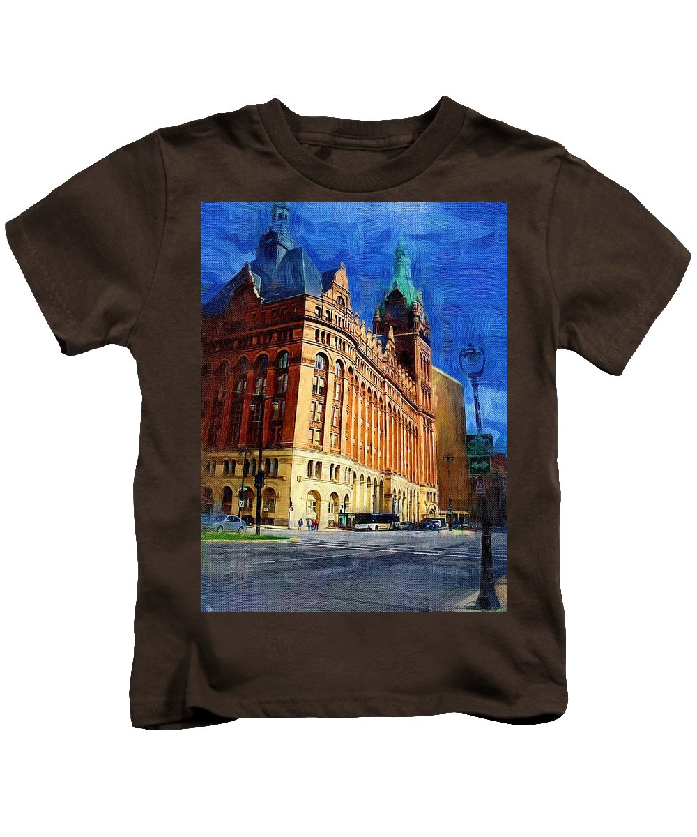 Architecture Kids T-Shirt featuring the digital art City Hall And Lamp Post by Anita Burgermeister