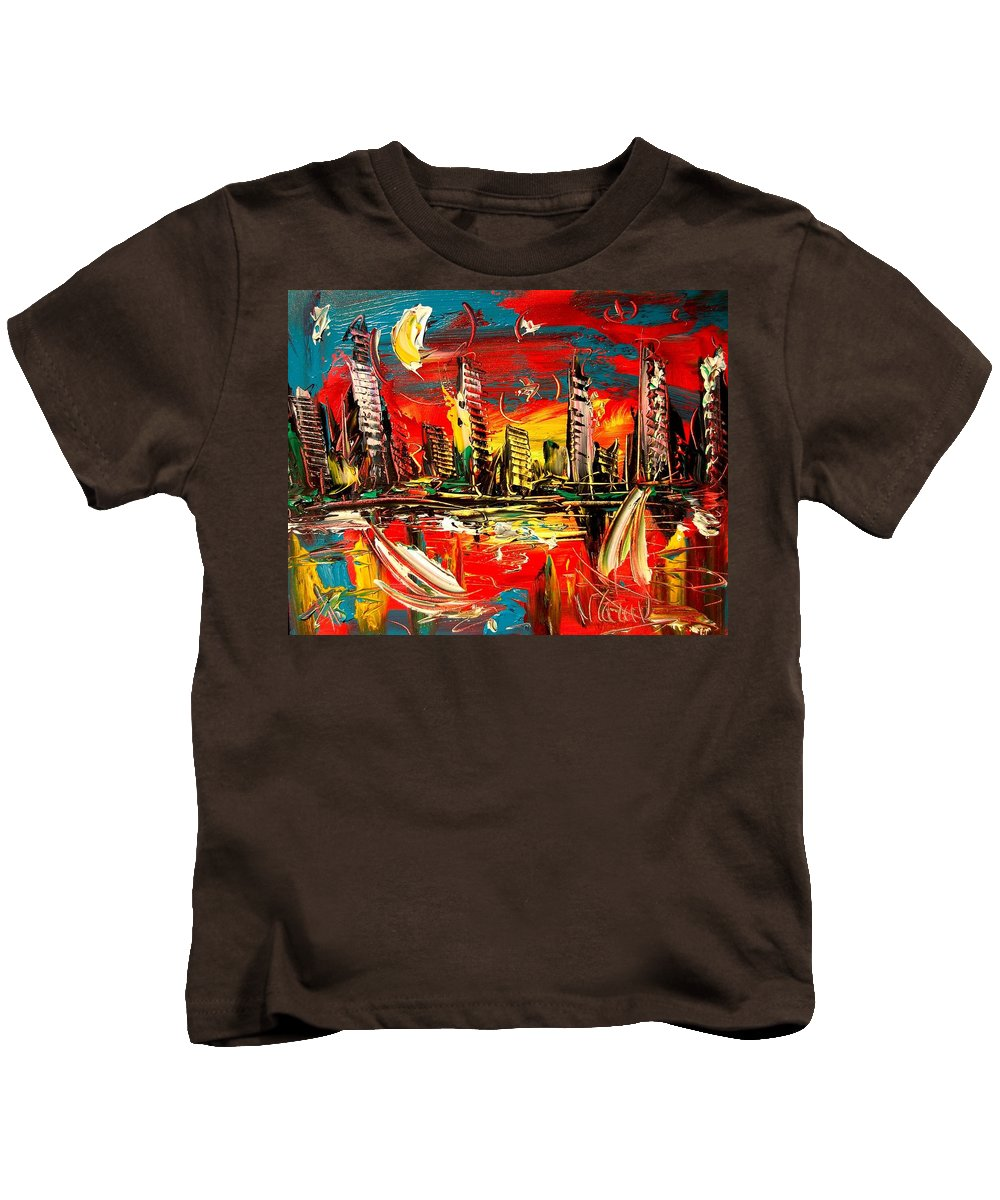 Red Poppies Kids T-Shirt featuring the painting City Moon by Mark Kazav
