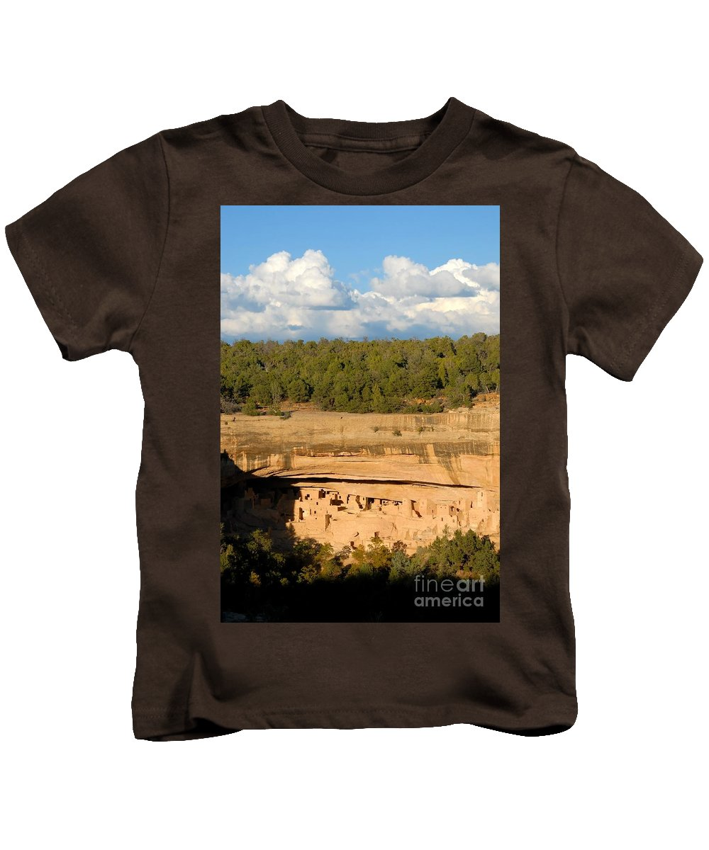 Cliff Palace Kids T-Shirt featuring the photograph Cliff Palace Landscape by David Lee Thompson