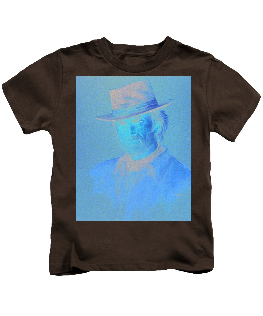 Clint Eastwood Portrait Kids T-Shirt featuring the pastel Clint Eastwood by Charles Vernon Moran