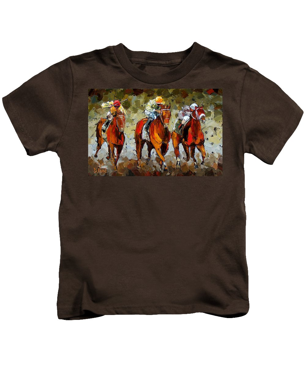 Horses Kids T-Shirt featuring the painting Close Race by Debra Hurd