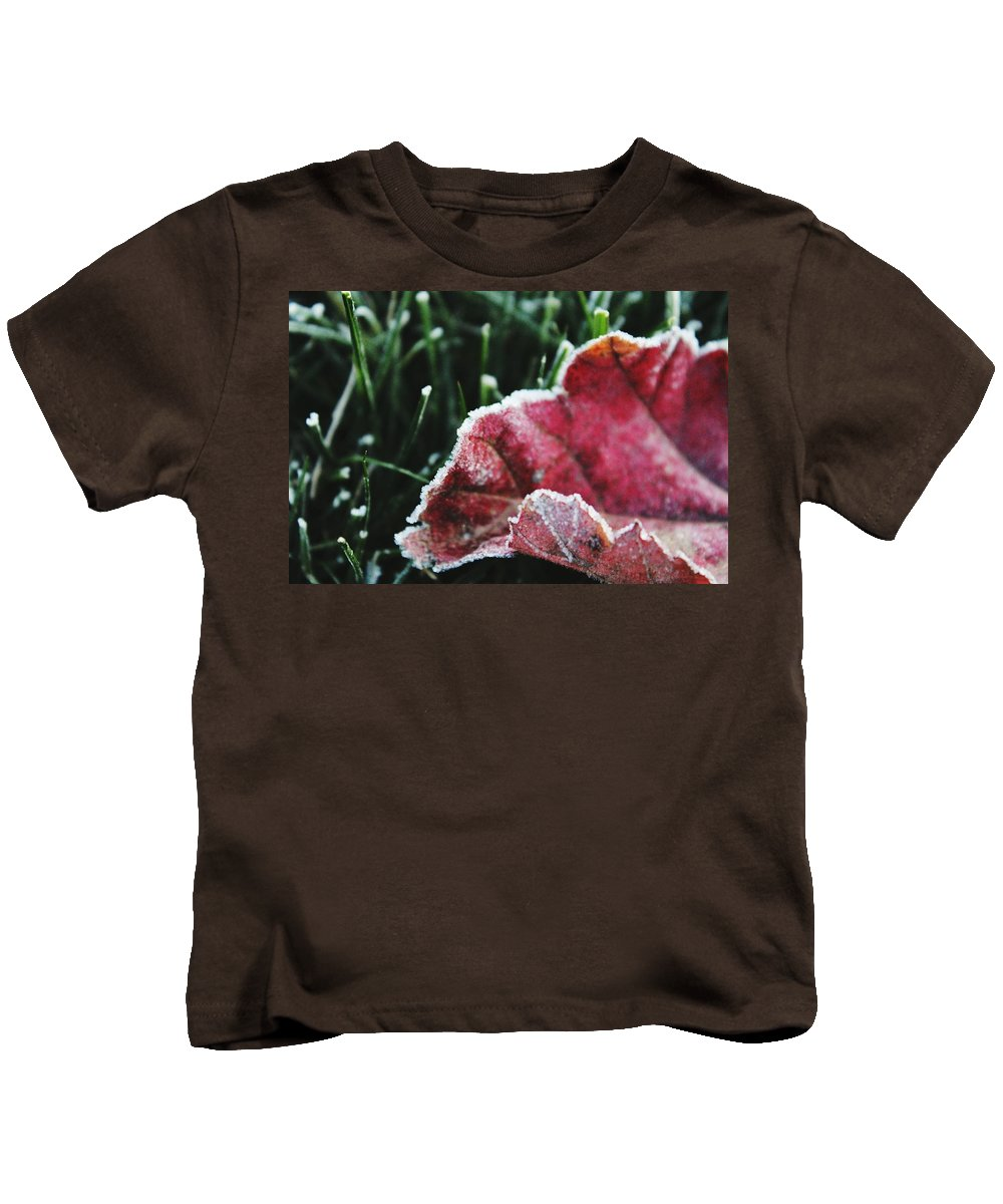 Frost Kids T-Shirt featuring the photograph Close Up Of Leaf And Frost by Hunter Kotlinski