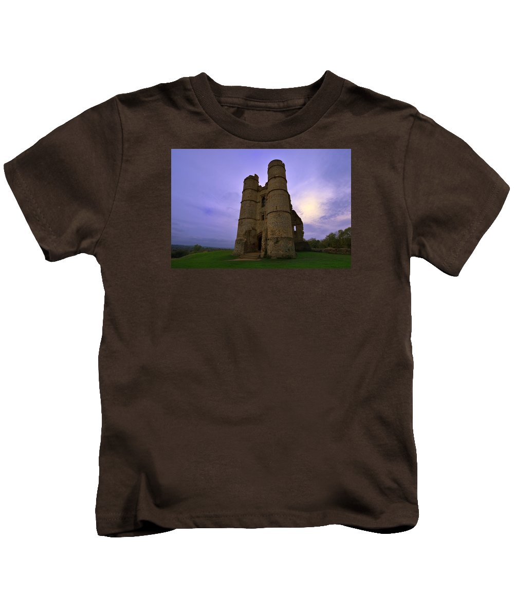 Castle Kids T-Shirt featuring the photograph Cloudy Donnington Castle by Giovanni Giuliano