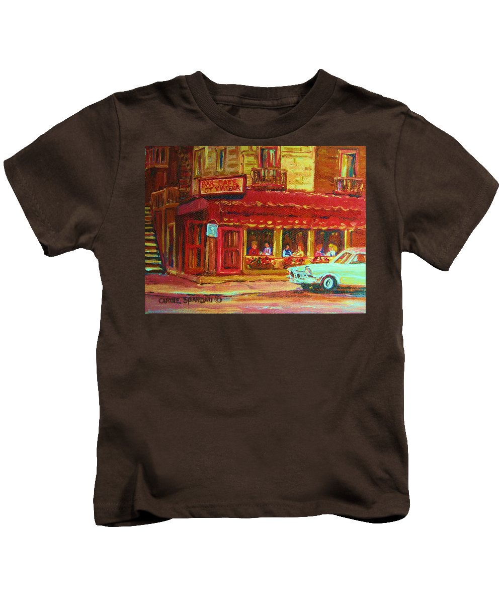 St Kids T-Shirt featuring the painting Coffee Bar On The Corner by Carole Spandau