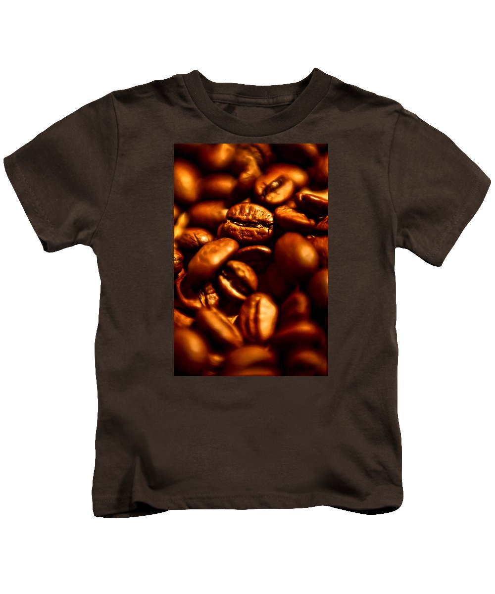 Coffee Kids T-Shirt featuring the photograph Coffee Beans- Gold by Krzysztof Dac