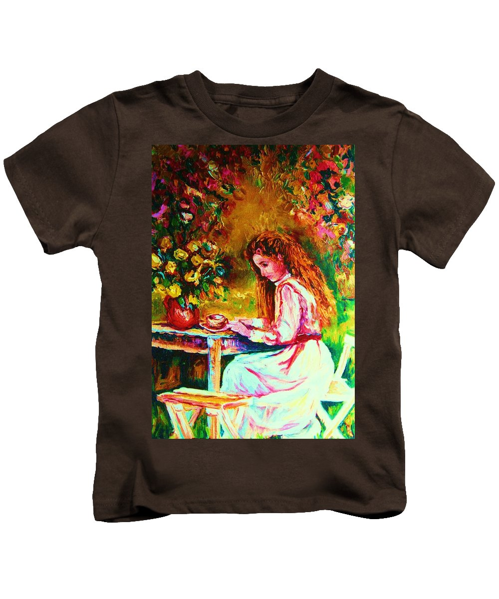 Impressionism Kids T-Shirt featuring the painting Coffee In The Garden by Carole Spandau