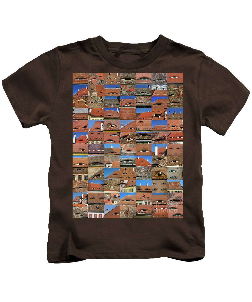 Collage Kids T-Shirt featuring the photograph Collage Roof And Windows - The City S Eyes by Daliana Pacuraru