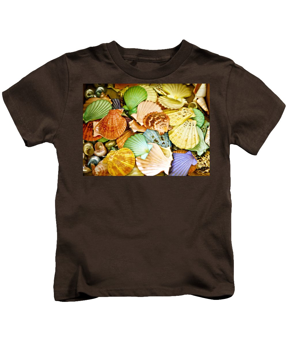 Shell Kids T-Shirt featuring the photograph Colored Shells by Marilyn Hunt