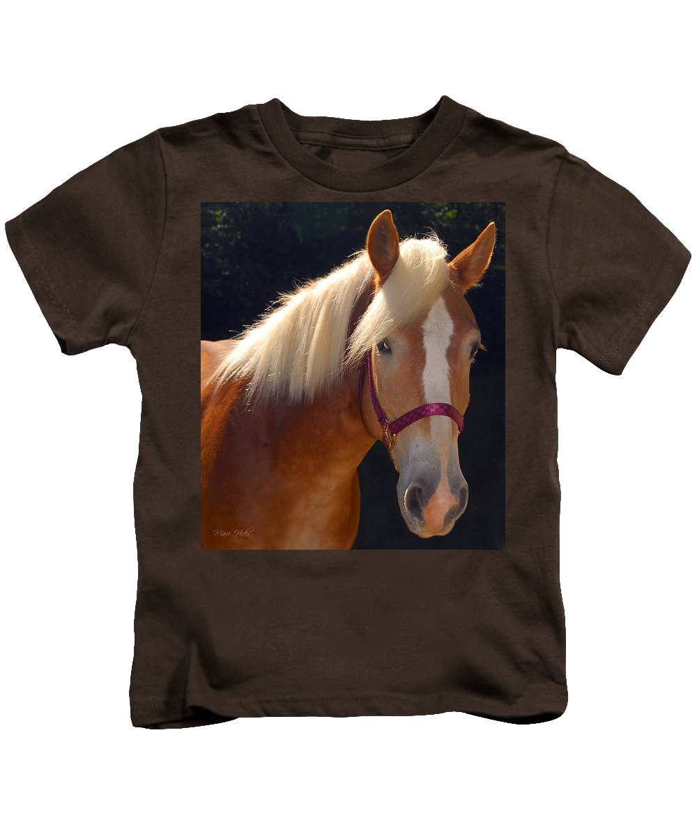 Haflinger Kids T-Shirt featuring the photograph Come Play With Me by Marie Hicks