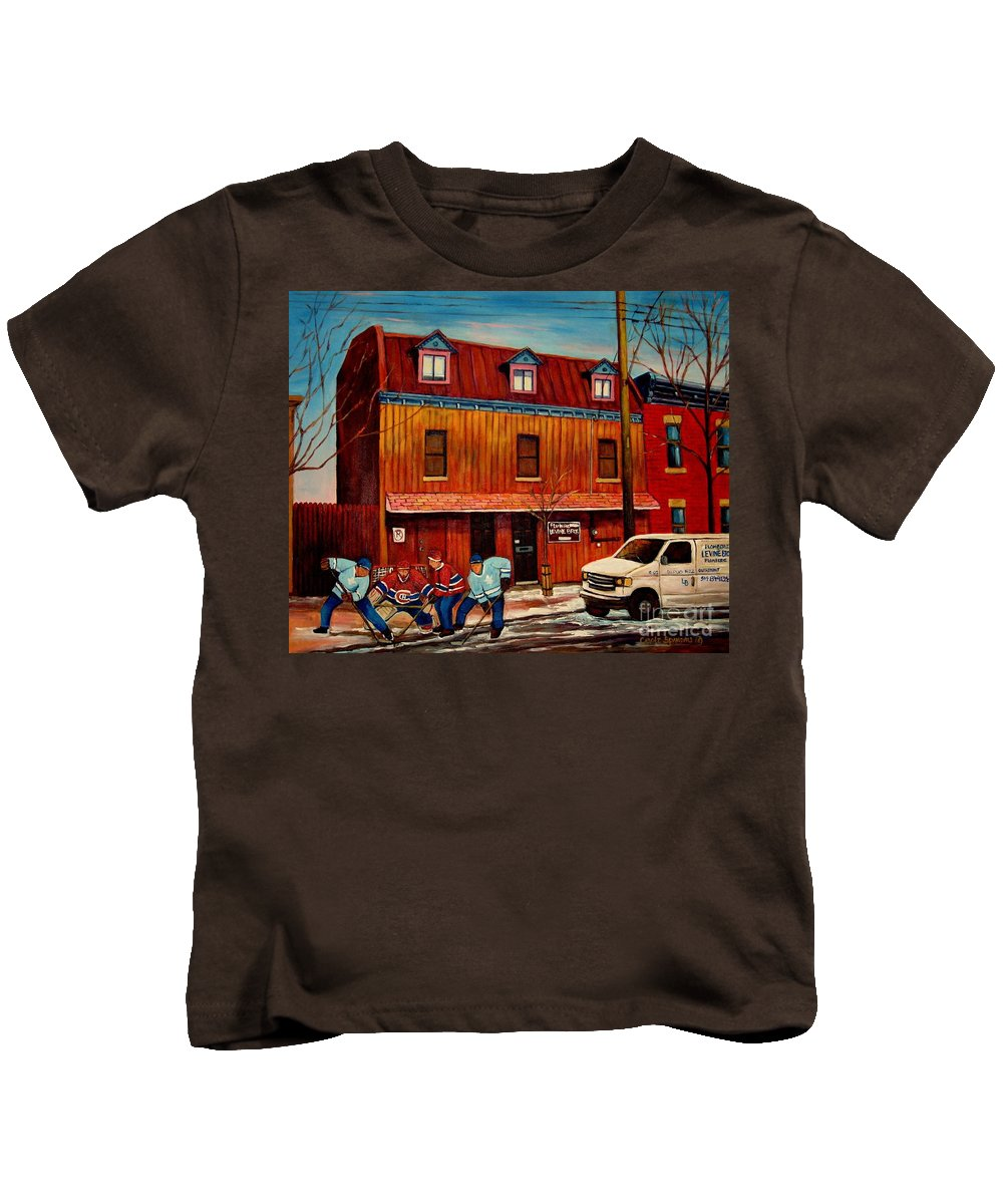 Levine Brothers Plumbers Kids T-Shirt featuring the painting Commission Me Your Store by Carole Spandau