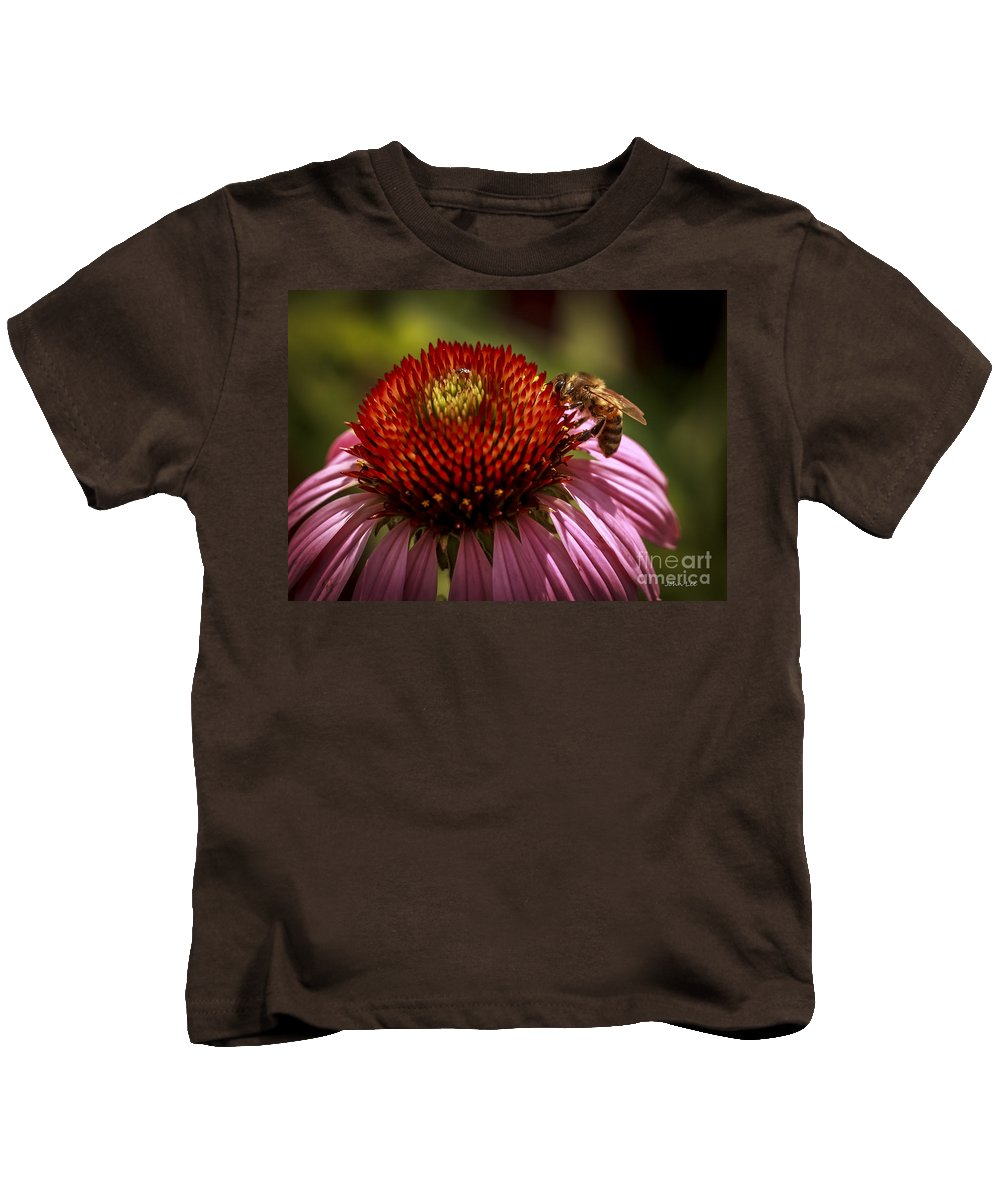Flower Kids T-Shirt featuring the photograph Coneflower Bee by John Lee