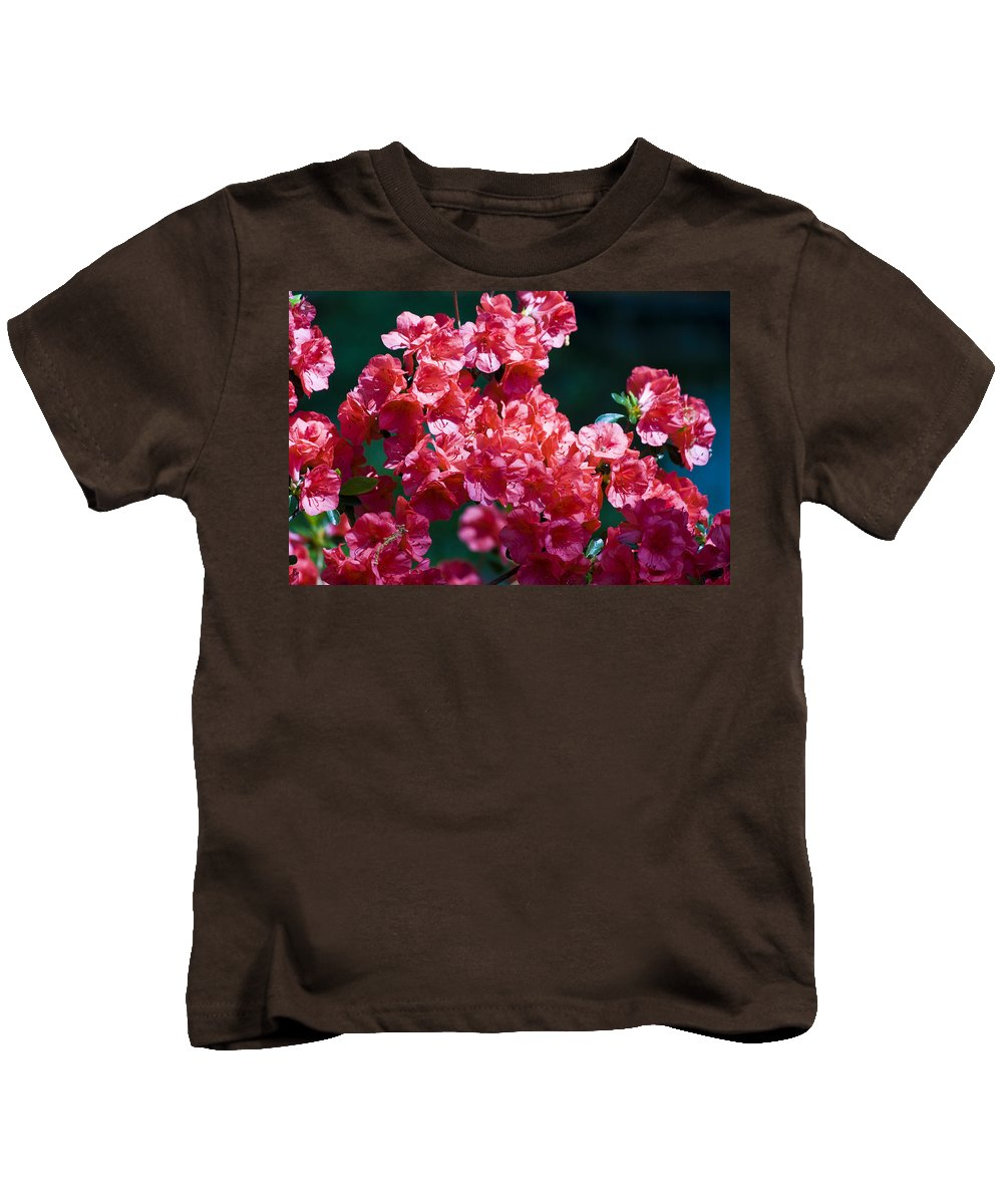 Azalea Kids T-Shirt featuring the photograph Coral Azaleas by Teresa Mucha