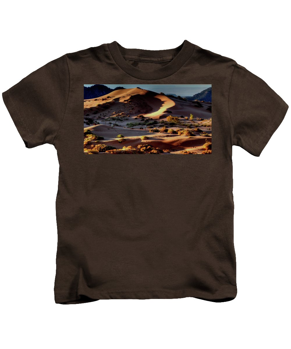 Kids T-Shirt featuring the photograph Coral Pink Sand Dunes Dawn by Ron Smith