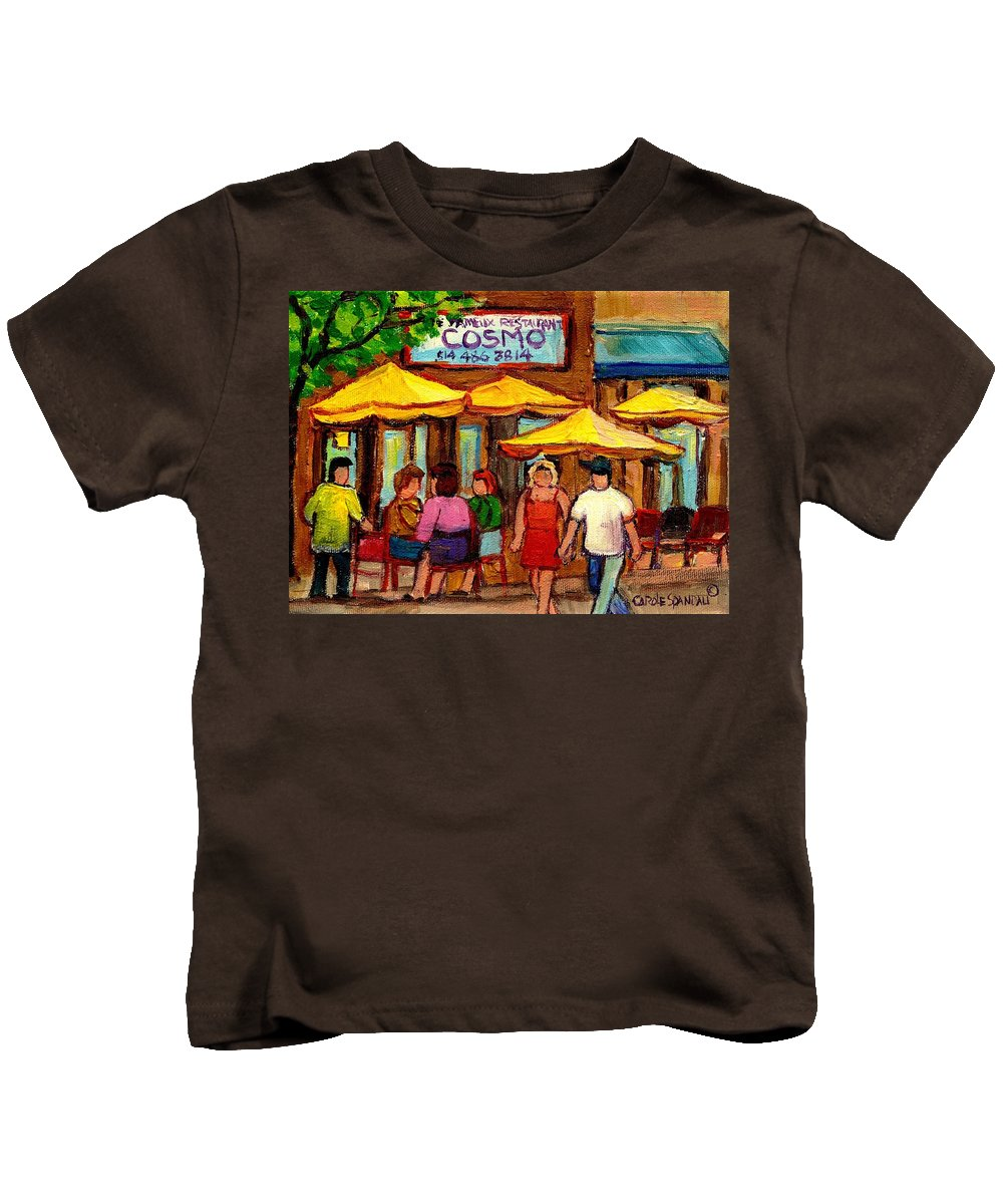 Cosmos Restaurant Kids T-Shirt featuring the painting Cosmos Fameux Restaurant On Sherbrooke by Carole Spandau