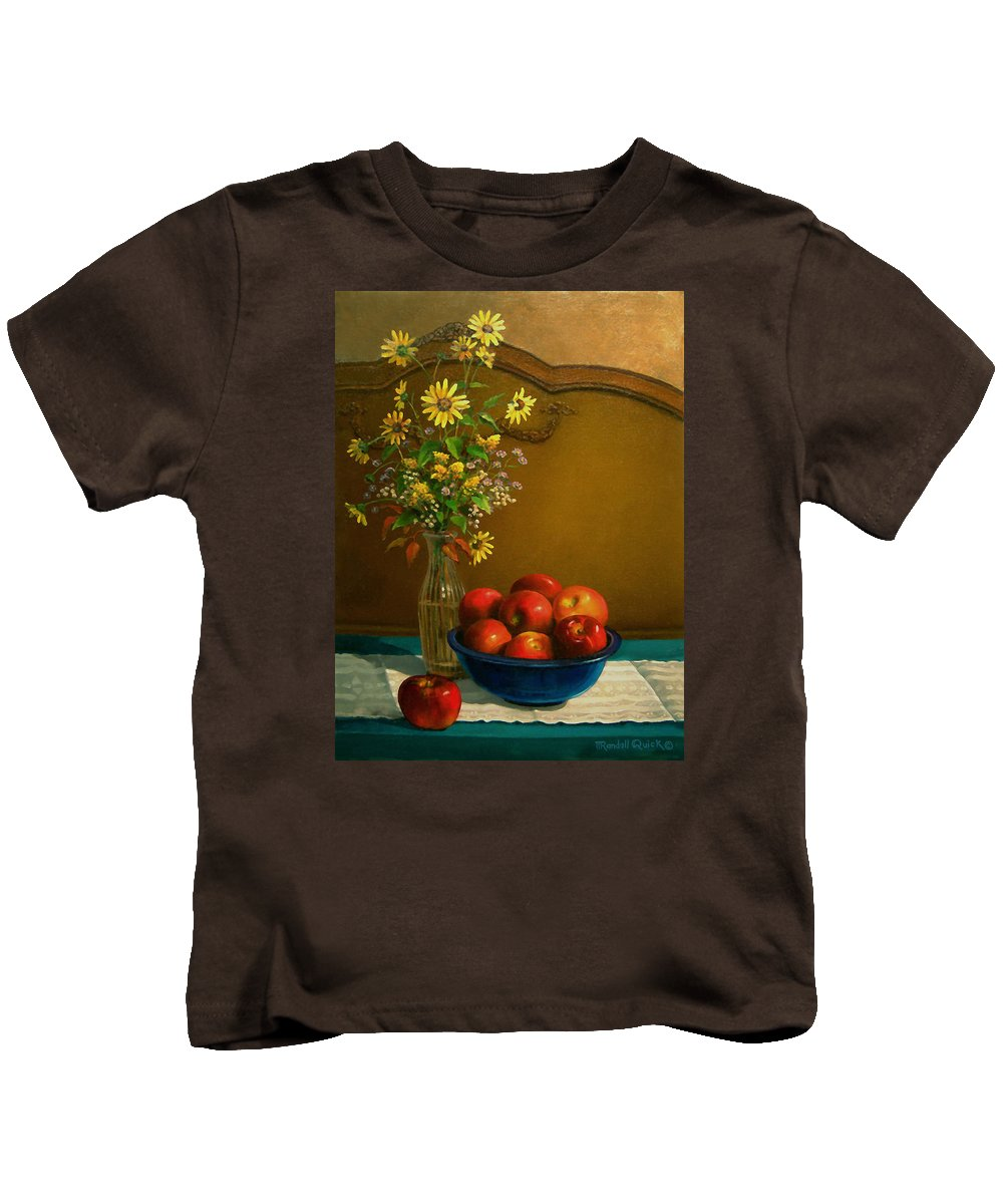 Country Apples Kids T-Shirt featuring the painting Country Apples by Randall R Quick