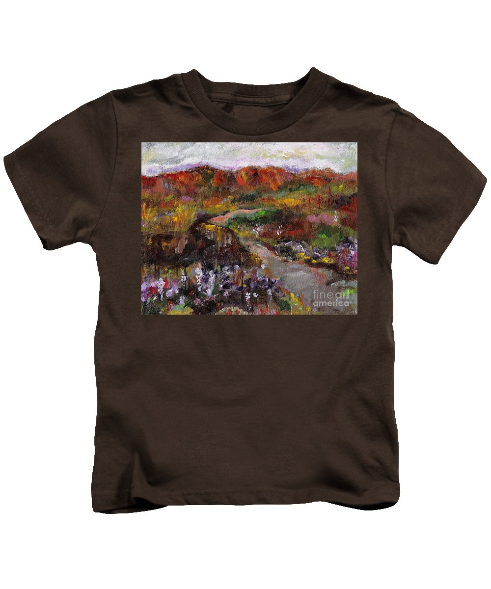 Paths Kids T-Shirt featuring the painting Country Music by Frances Marino