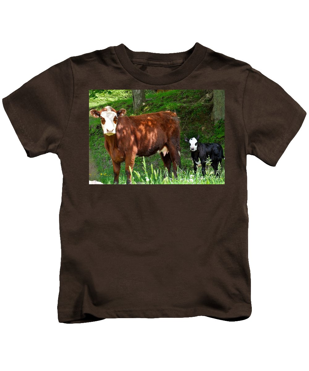 Cow Kids T-Shirt featuring the photograph Cow And Calf by Christina McKinney