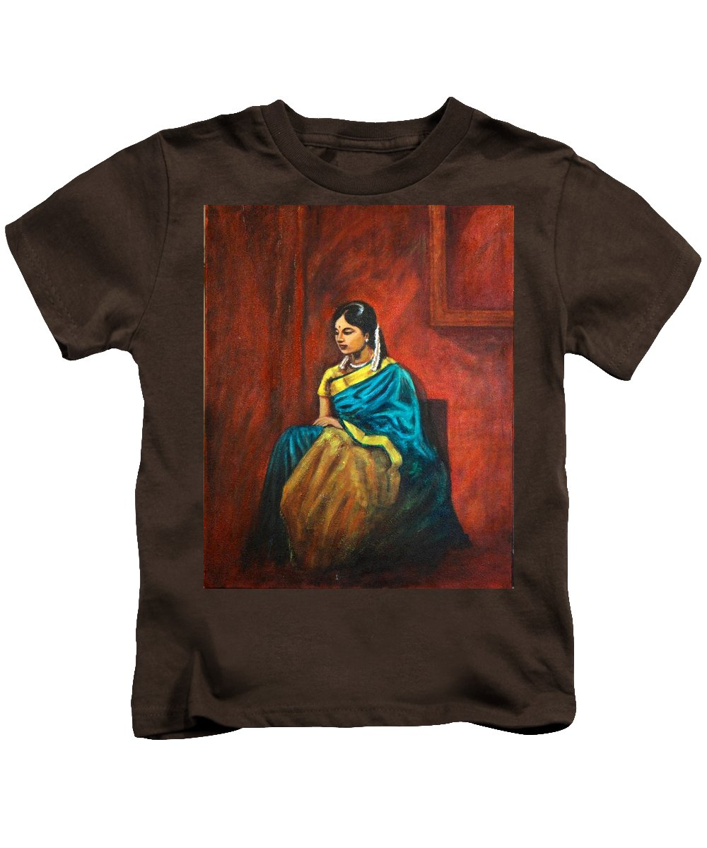 Coy Kids T-Shirt featuring the painting Coy by Usha Shantharam