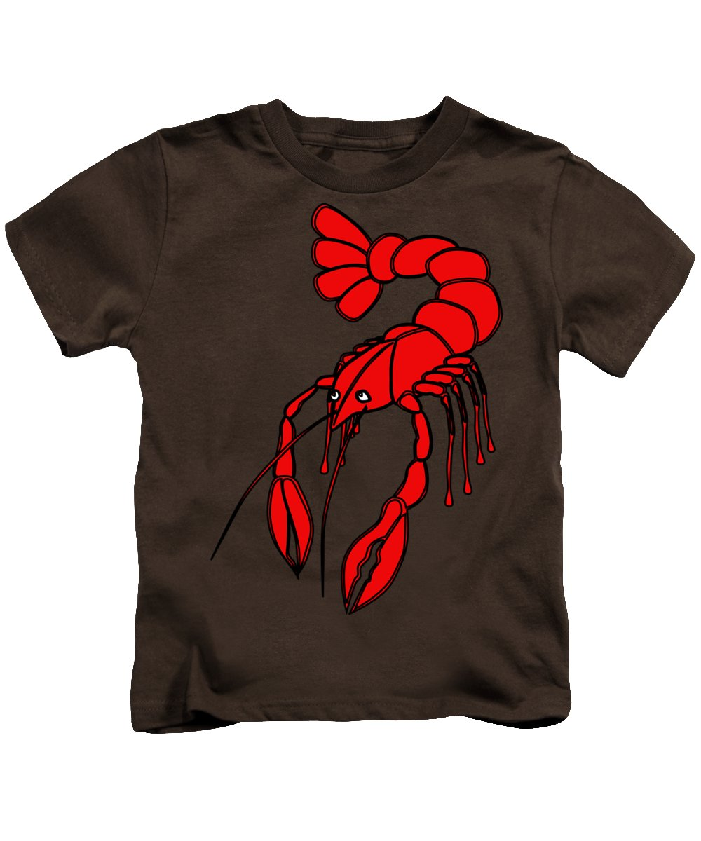 Animal Kids T-Shirt featuring the digital art Crayfish by Frederick Holiday