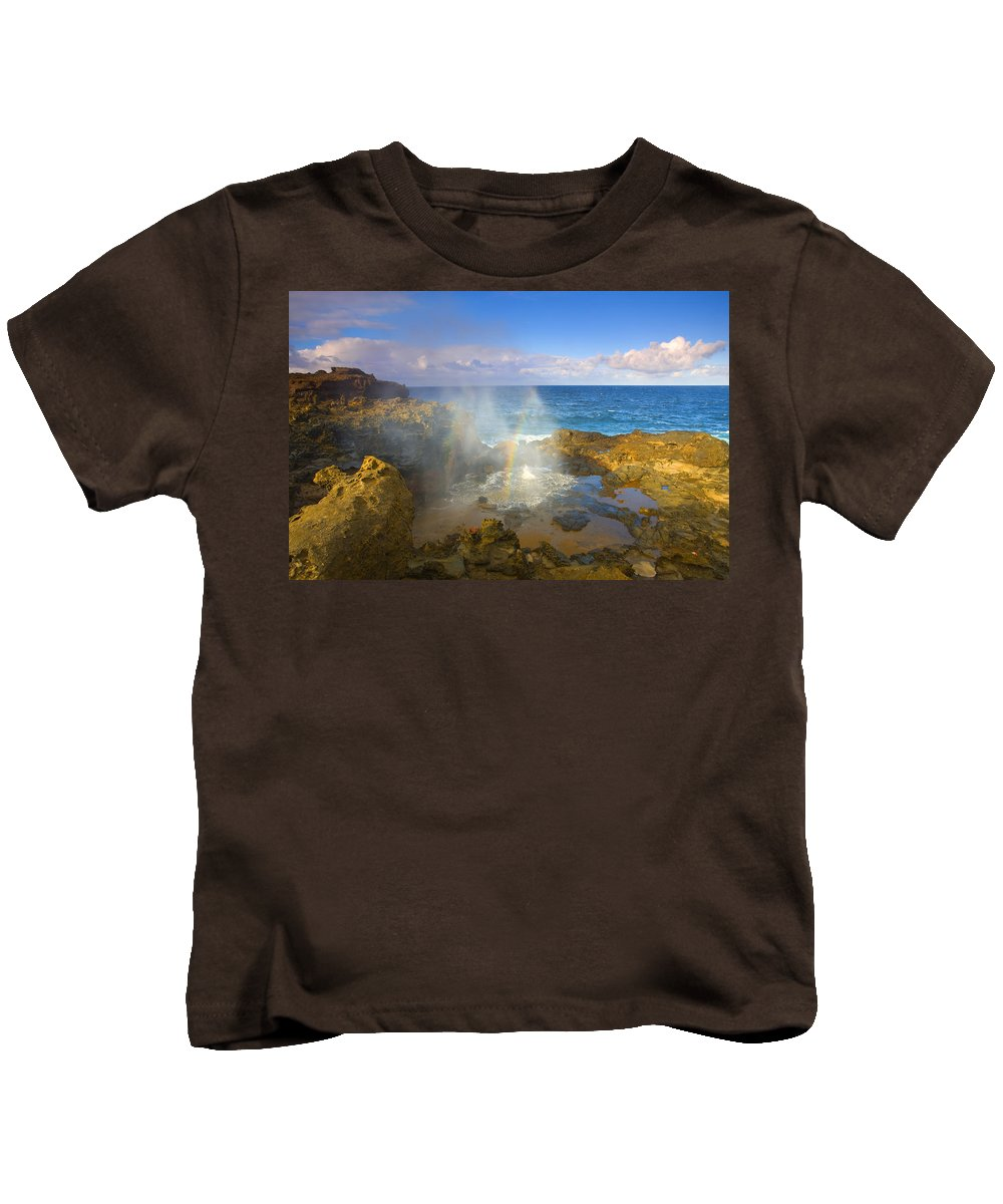 Blowhole Kids T-Shirt featuring the photograph Creating Miracles by Mike Dawson
