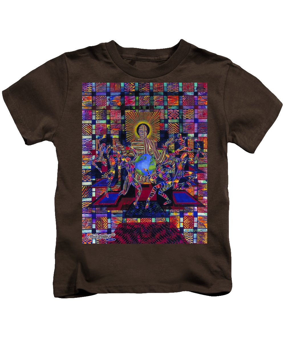 Smithsonian Kids T-Shirt featuring the painting Creation by Steve R Allen
