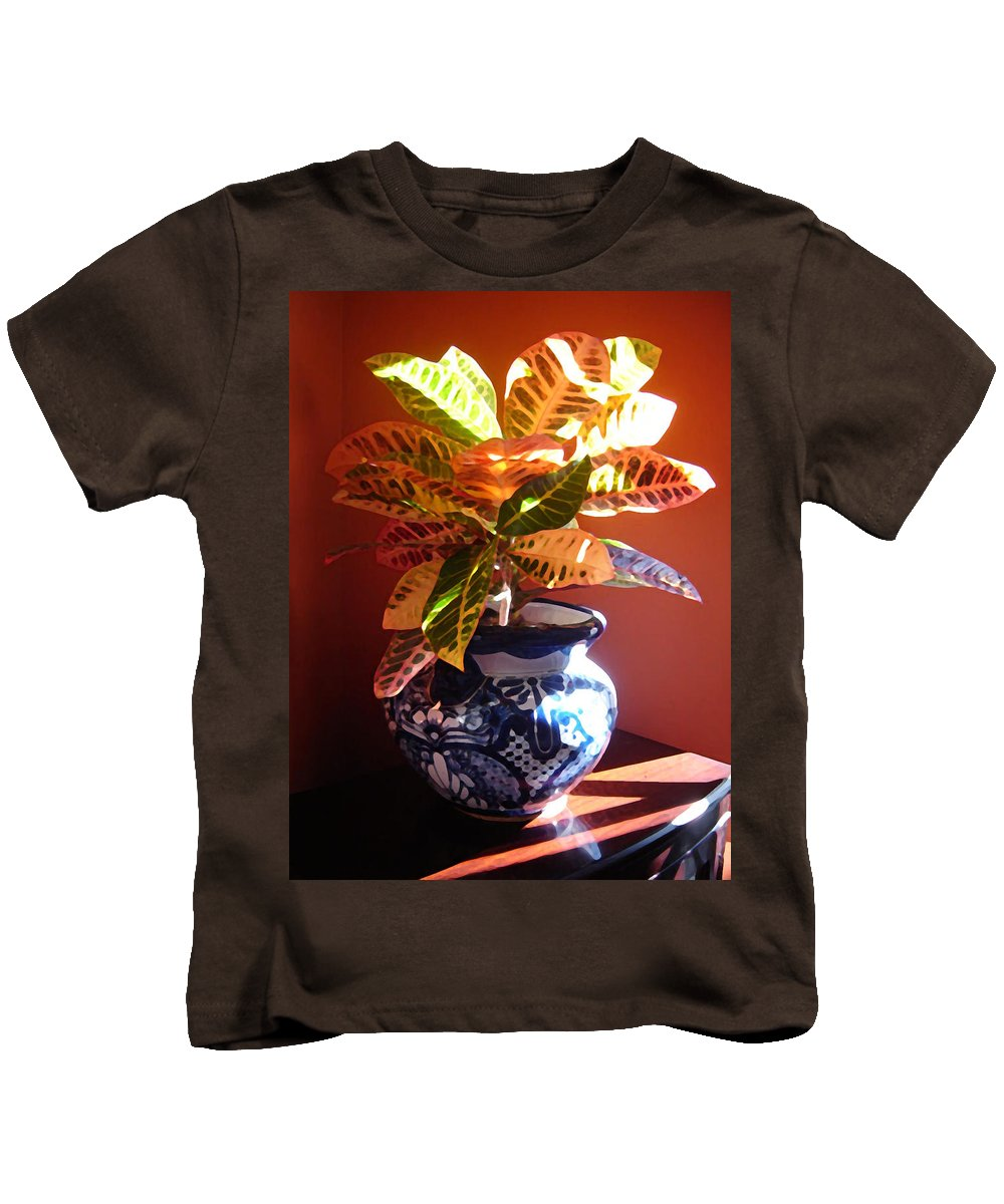 Potted Plant Kids T-Shirt featuring the photograph Croton In Talavera Pot by Amy Vangsgard