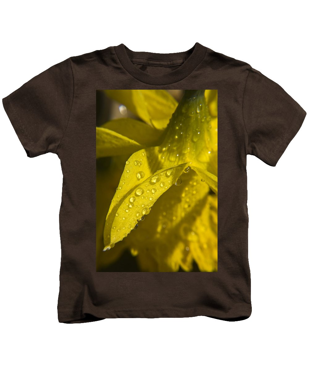 Daffodil Kids T-Shirt featuring the photograph Daffodil Dew by Teresa Mucha