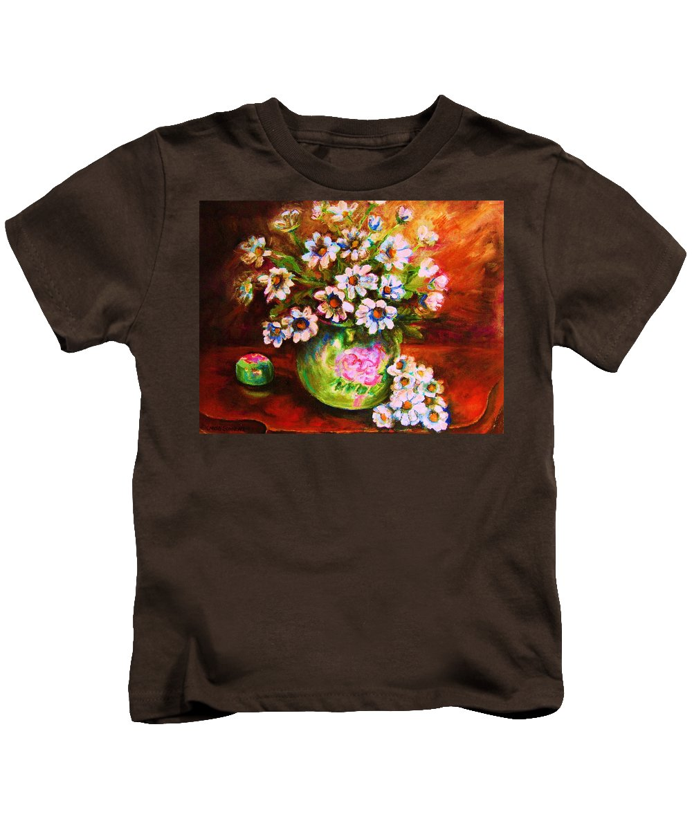 Daisies Kids T-Shirt featuring the painting Daisies And Ginger Jar by Carole Spandau