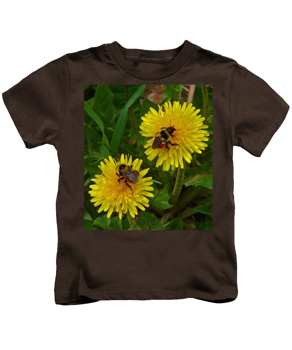 Dandelion Kids T-Shirt featuring the photograph Dandelions And Bees by Heather Coen