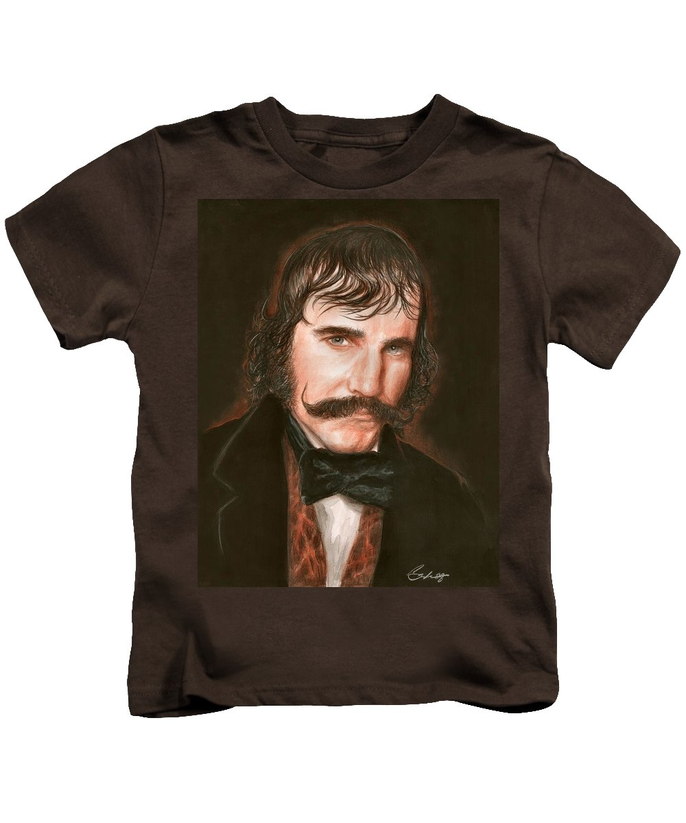 Daniel Day Lewis Gangs Of Ny Bruce Lennon Art Kids T-Shirt featuring the painting Daniel Day by Bruce Lennon
