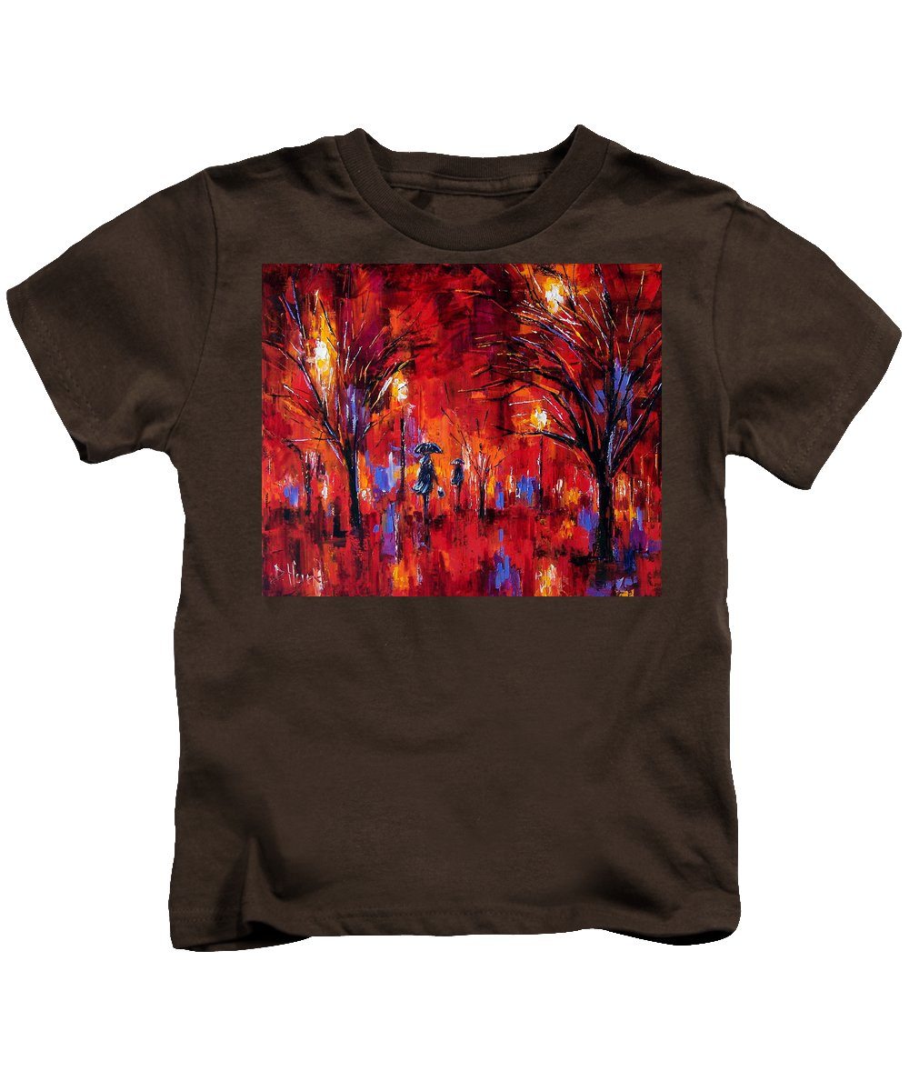 Umbrellas Kids T-Shirt featuring the painting Deep Red by Debra Hurd
